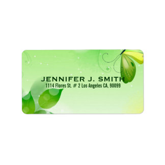Spring Green Background With Butterfly Address Label