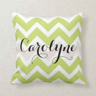 Spring Green Chevron Personalised Pillow