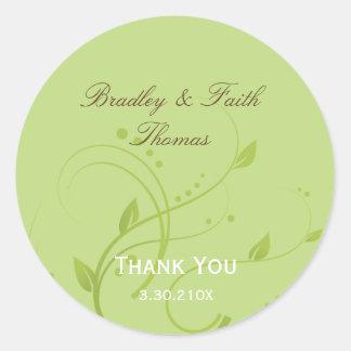 Spring Green & Chocolate Wedding Collection Favor Round Sticker