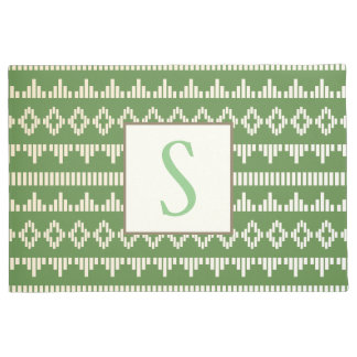 Spring Green & Cream Geometric   Monogram Doormat