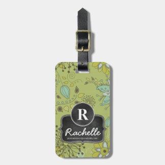 Spring Green Floral Design Monogram Designer Luggage Tag