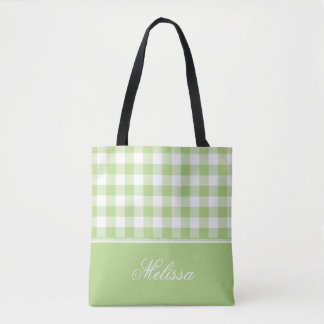 Spring Green Gingham   Personalized Tote Bag