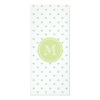 Spring Green Glitter Hearts with Monogram Personalized Announcements