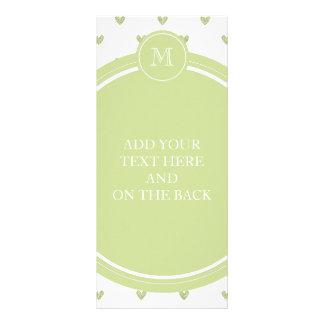 Spring Green Glitter Hearts with Monogram Custom Rack Cards