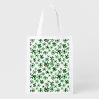 Spring-Green Lucky Shamrock Clover Reusable Grocery Bag
