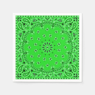 Spring Green Paisley Bandana Scarf BBQ Picnic Disposable Serviette