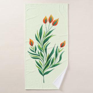 Spring Green Plant With Orange Buds Bath Towel