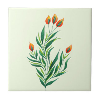 Spring Green Plant With Orange Buds Tile
