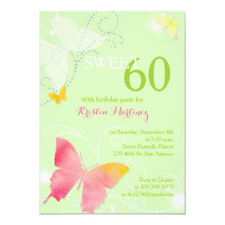 Spring Green Sweet 60th Birthday Party Card