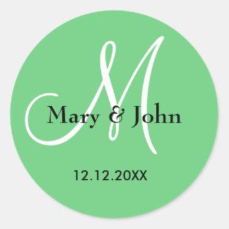 Spring Green Wedding Monogram Seals Round Sticker