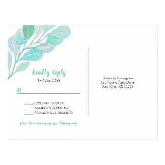 Spring Greenery wedding RSVP + special diet Postcard