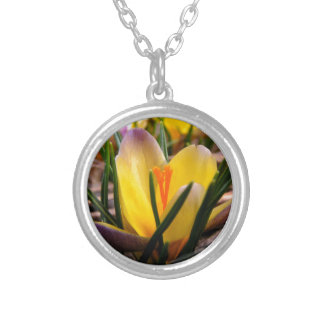Spring in the air, Crocus are blooming! Silver Plated Necklace