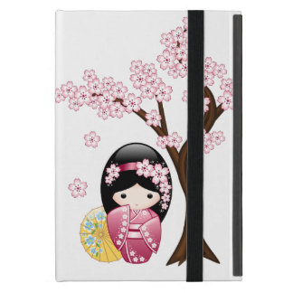 Spring Kokeshi Doll - Cute Japanese Geisha Girl Case For iPad Mini