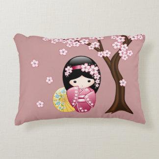 Spring Kokeshi Doll - Cute Japanese Geisha Girl Decorative Cushion