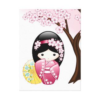 Spring Kokeshi Doll - Cute Japanese Geisha Girl Gallery Wrapped Canvas
