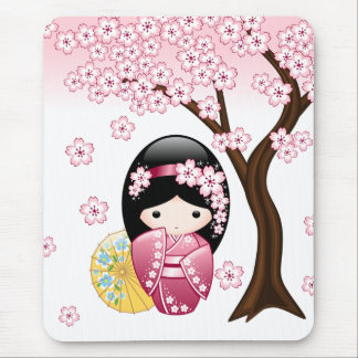 Spring Kokeshi Doll - Cute Japanese Geisha Girl Mouse Pad