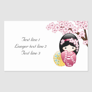 Spring Kokeshi Doll - Cute Japanese Geisha Girl Rectangular Sticker