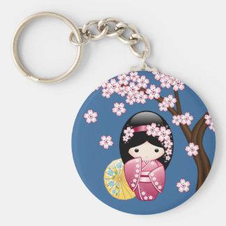Spring Kokeshi Doll - Cute Japanese Geisha on Blue Key Ring
