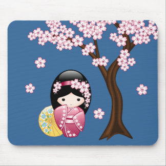 Spring Kokeshi Doll - Cute Japanese Geisha on Blue Mouse Pad