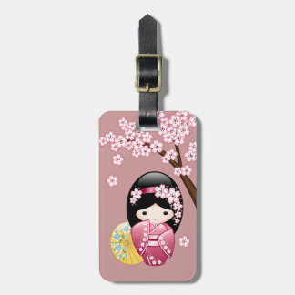Spring Kokeshi Doll - Cute Japanese Geisha on Pink Luggage Tag