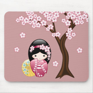 Spring Kokeshi Doll - Cute Japanese Geisha on Pink Mouse Pad