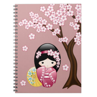 Spring Kokeshi Doll - Cute Japanese Geisha on Pink Notebooks