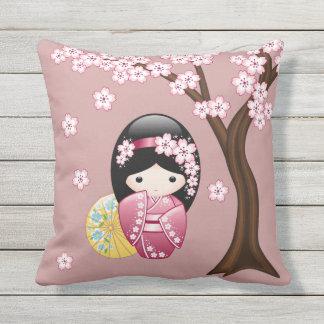 Spring Kokeshi Doll - Cute Japanese Geisha on Pink Outdoor Cushion