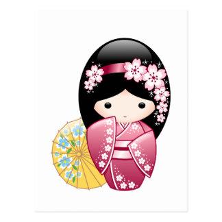 Spring Kokeshi Doll - Japanese Geisha Girl Postcard