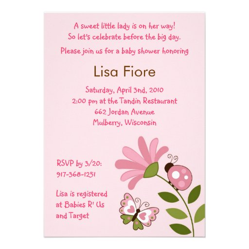 Spring Ladybug Butterfly Baby Shower Invitations