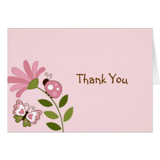 Spring Ladybug Butterfly Thank You Note Cards
