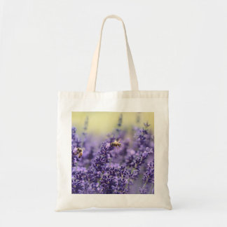 Spring Lavender with Bees Purple Floral Tote Bag