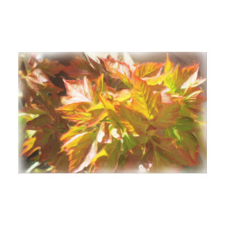 Spring leaves stretched canvas print