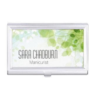 Spring Leaves Watercolor Business Card Holder