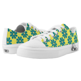 Spring light blue flowers on bright yellow printed shoes