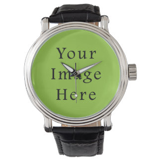 Spring Light Lime Green Color Trend Blank Template Watches