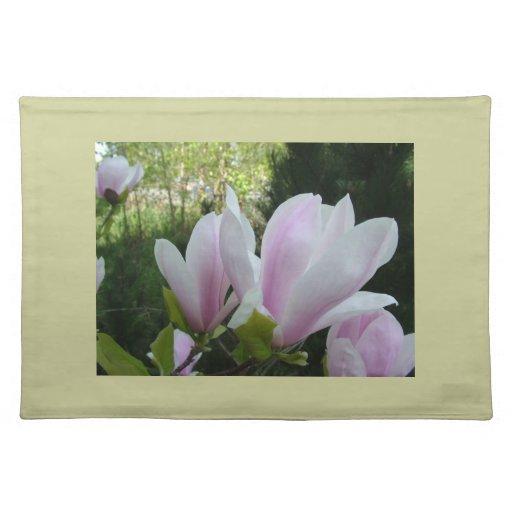 spring light purple magnolia flowers place mats