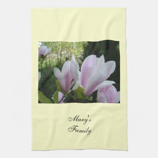 spring light purple magnolia flowers towel