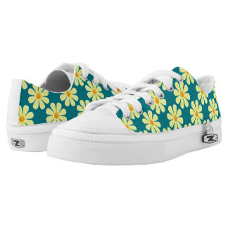 Spring light yellow flowers on dark turquoise printed shoes