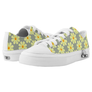 Spring light yellow flowers on grey printed shoes