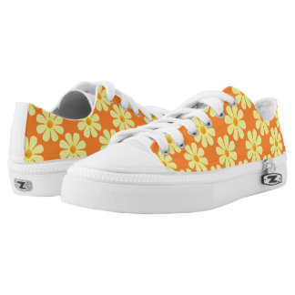 Spring light yellow flowers on light orange printed shoes