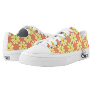 Spring light yellow flowers on salmon printed shoes