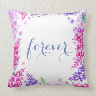 Spring Lilac Flower Blossom-Floral Wedding Forever Throw Pillow