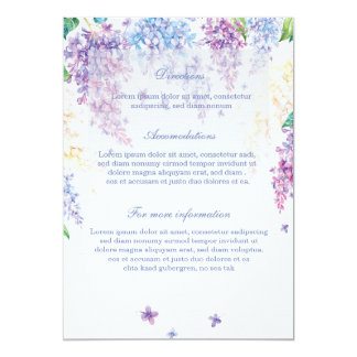 Spring Lilac Flower Floral Wedding Directions Card