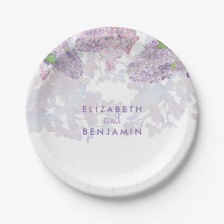 Spring Lilacs Floral Watercolor Elegant 7 Inch Paper Plate