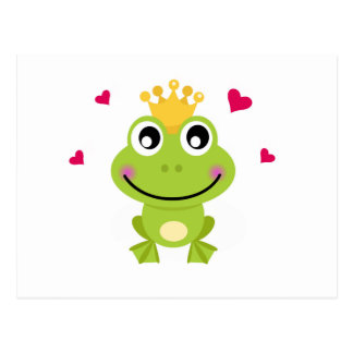 Spring little green Frog in love Postcard