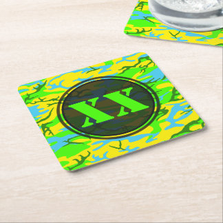 Spring Meadow Green Camouflage Coaster w/ Text
