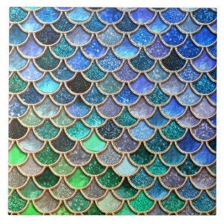 Spring Mermaid Green Glitter Scales- Mermaidscales Large Square Tile