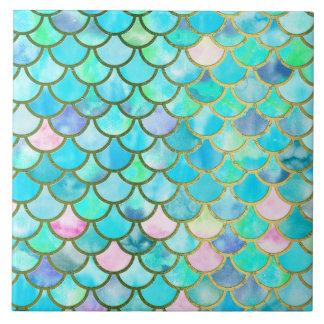 Spring Mermaid Watercolor Scales- Mermaidscales Large Square Tile