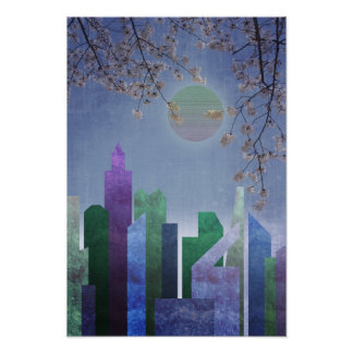 Spring Night Sakura Cherry Blossom Geometric City Poster
