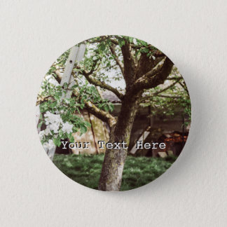 Spring Orchard With Ladder Against Tree 6 Cm Round Badge